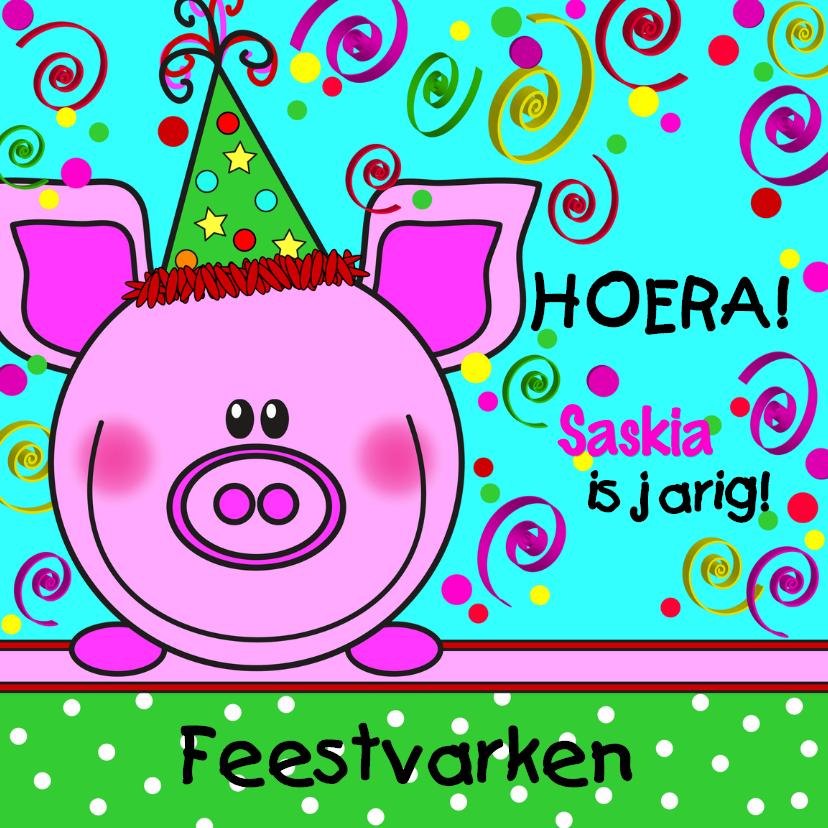 Verjaardagskaarten - Feestvarken HOERA