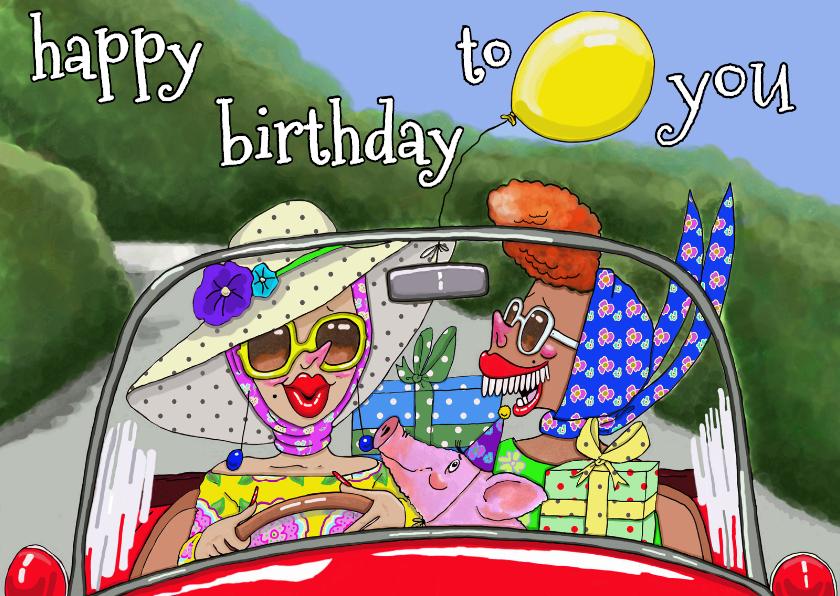 Verjaardagskaarten - Feestvarken, we komen eraan!