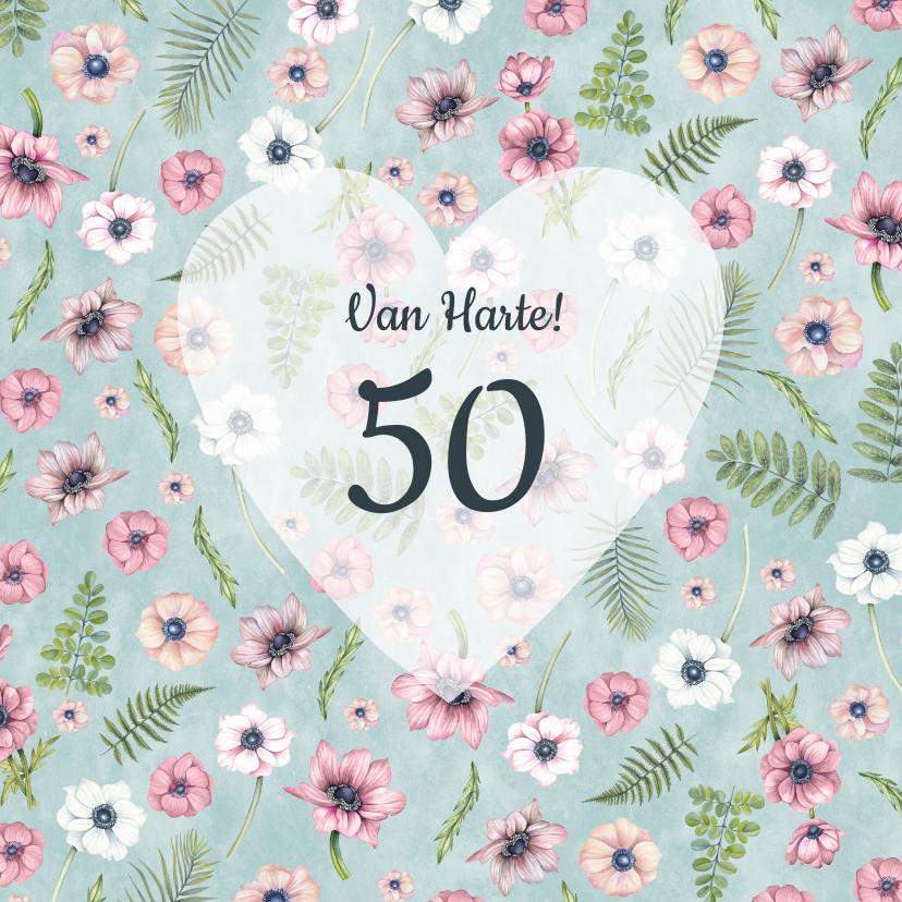 Verjaardagskaarten - Felicitatie annemonenpatroon