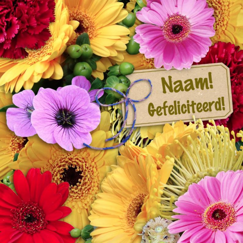 Verjaardagskaarten - Felicitatie bos bloemen