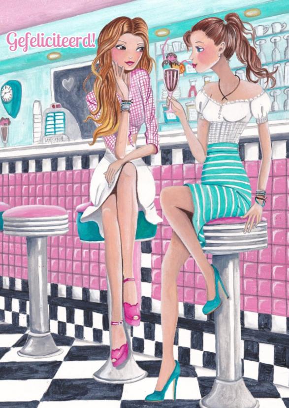 Verjaardagskaarten - Felicitatie Girls bar ijs