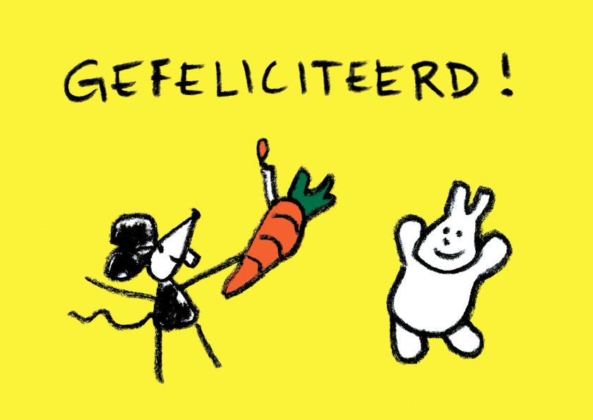 Verjaardagskaarten - Felicitatie Joep & Hop en wortel