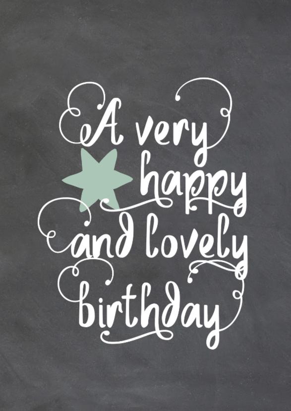 Verjaardagskaarten - Felicitatie kaart krijtbord met handlettering