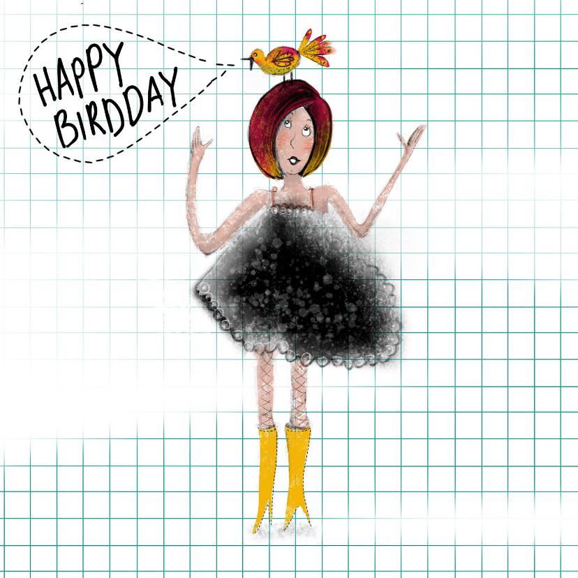 Verjaardagskaarten - Felicitatie kaart met meisje met vogel op haar hoofd