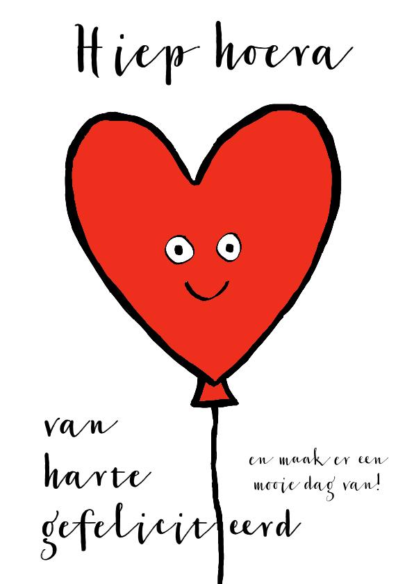 Verjaardagskaarten - Felicitatie kaart verjaardag hart ballon