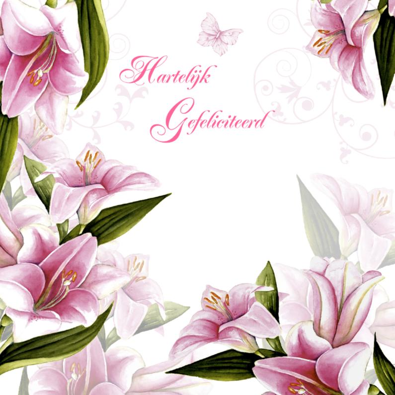 Verjaardagskaarten - felicitatie lelies