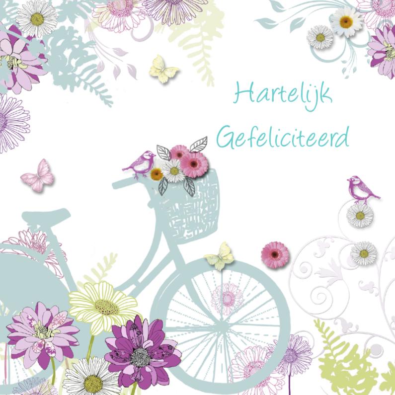 Verjaardagskaarten - Felicitatie met fiets en bloemen