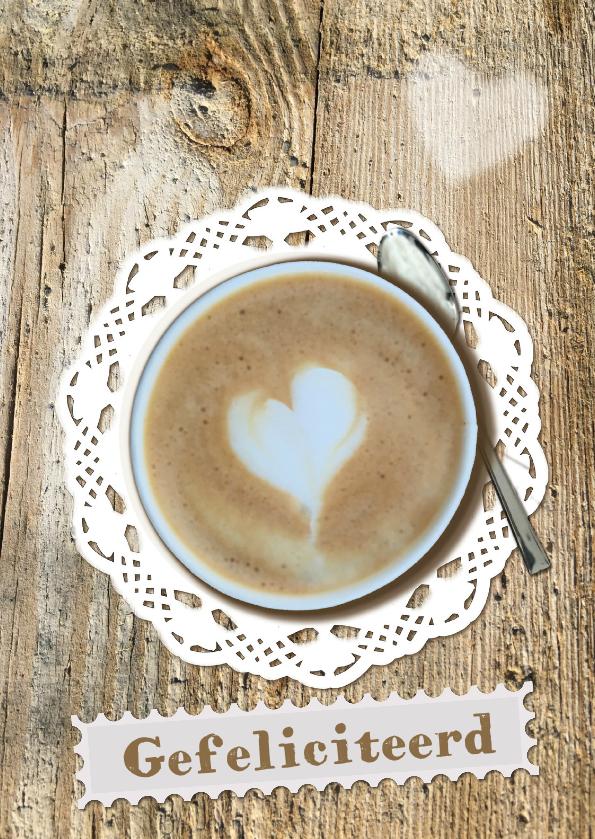 Verjaardagskaarten - Felicitatie met kopje koffie