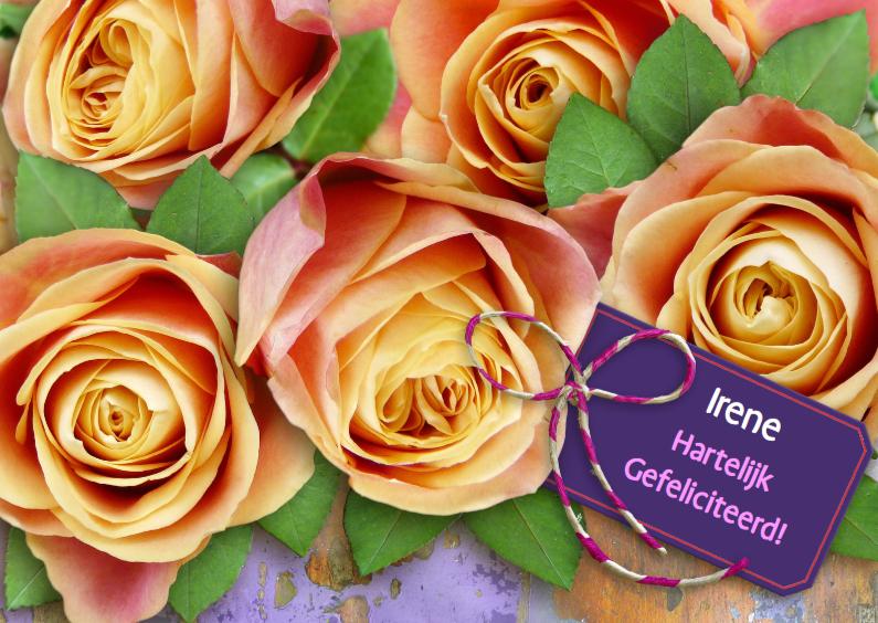 Verjaardagskaarten - Felicitatie met rozen perzik