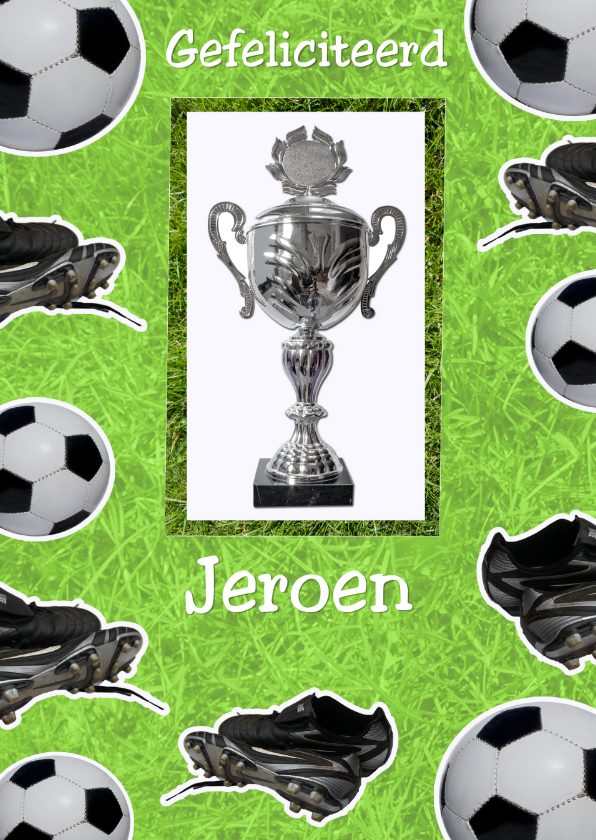 Verjaardagskaarten - felicitatie met voetbal en beker