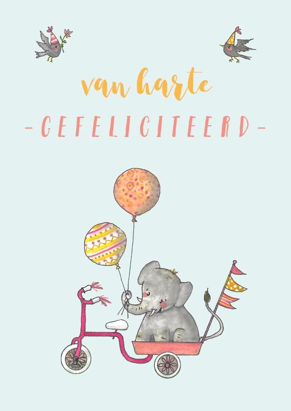 Verjaardagskaarten - Felicitatie olifantje driewieler