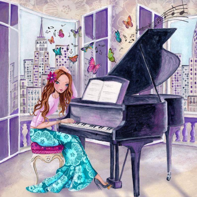 Verjaardagskaarten - Felicitatie Piano Muziek Meisje