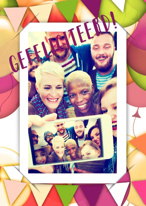 Verjaardagskaarten - Felicitatie selfie ballonnen RB