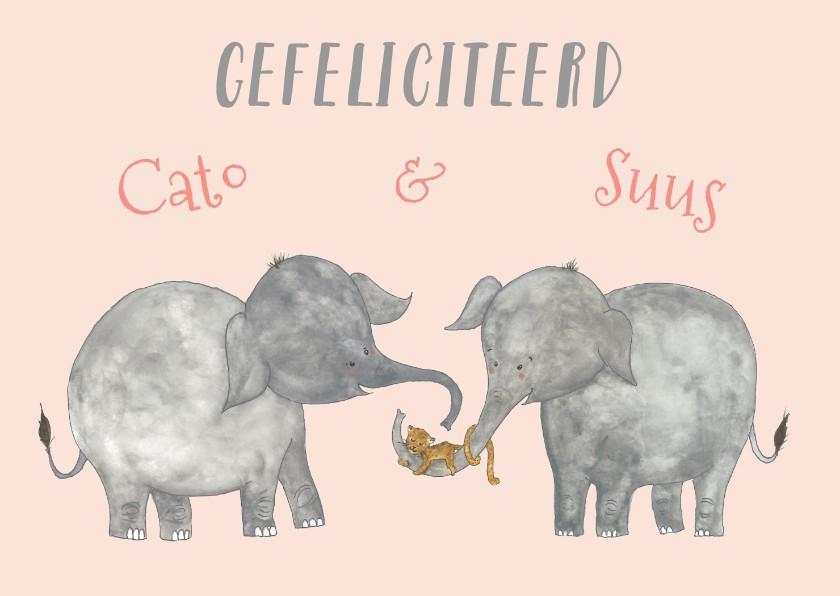 Verjaardagskaarten - Felicitatie tweeling olifanten meisjes