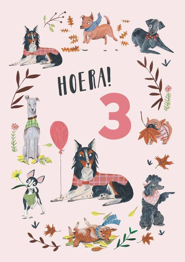 Verjaardagskaarten - Felicitatie verjaardag 3 jaar hondjes roze