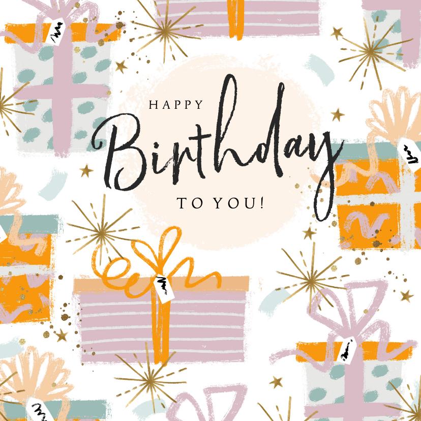 Verjaardagskaarten - Felicitatie verjaardag cadeaus confetti en sterren goudlook