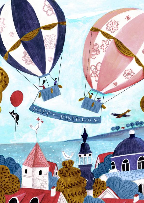 Verjaardagskaarten - Felicitatie verjaardag luchtballonnen