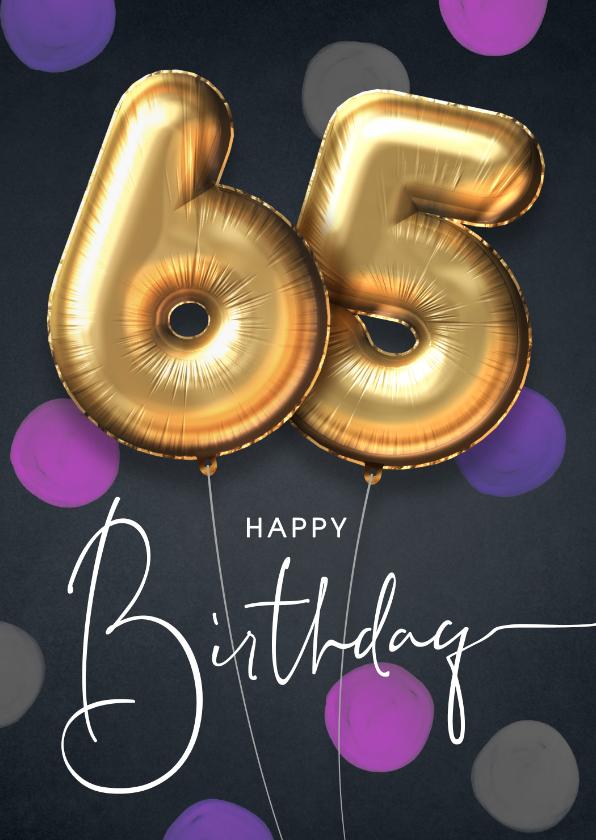 Verjaardagskaarten - Felicitatie verjaardagskaart ballon 65 jaar confetti