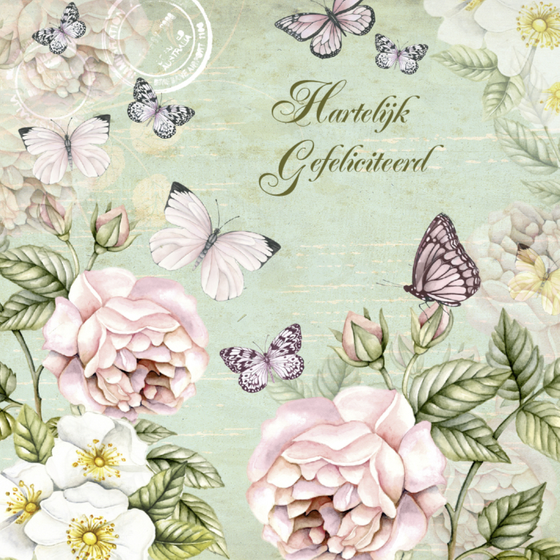 Verjaardagskaarten - Felicitatie vintage rozen vlinders
