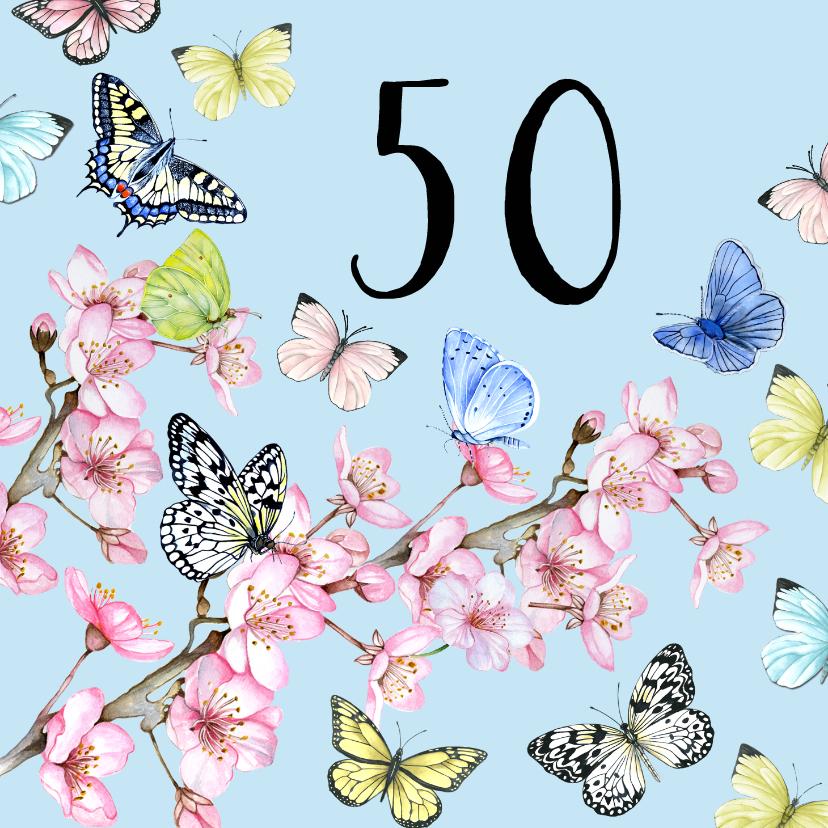 Verjaardagskaarten - Felicitatie vlinders bloesem