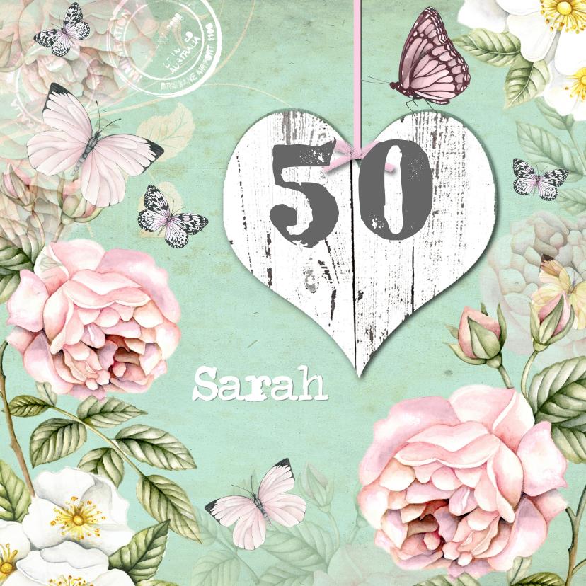 Verjaardagskaarten - felicitatie voor Sarah vintage rozen