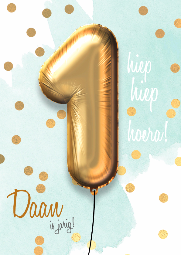 Verjaardagskaarten - Felicitatiekaart 1 jaar jongen