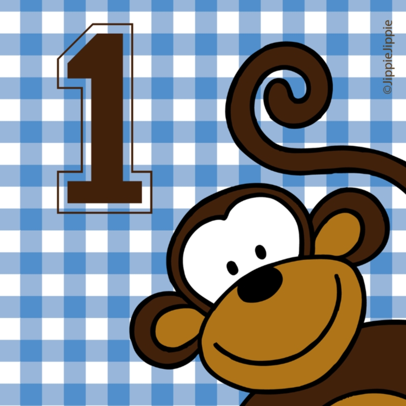 Verjaardagskaarten - Felicitatiekaart 1 jaar met aap