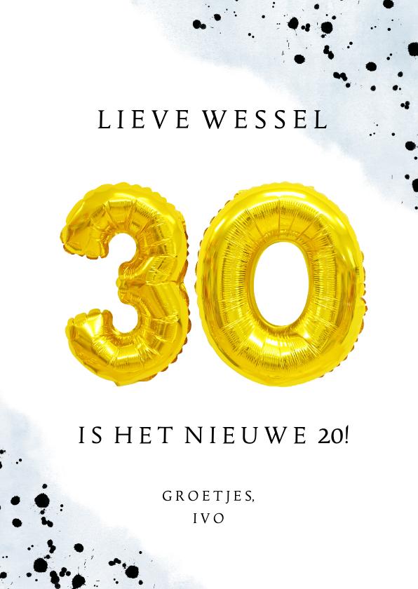 Verjaardagskaarten - Felicitatiekaart 30ste verjaardag man met cijferballonnen
