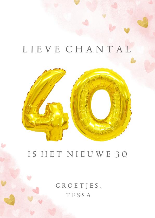 Verjaardagskaarten - Felicitatiekaart 40ste verjaardag met gouden cijfers