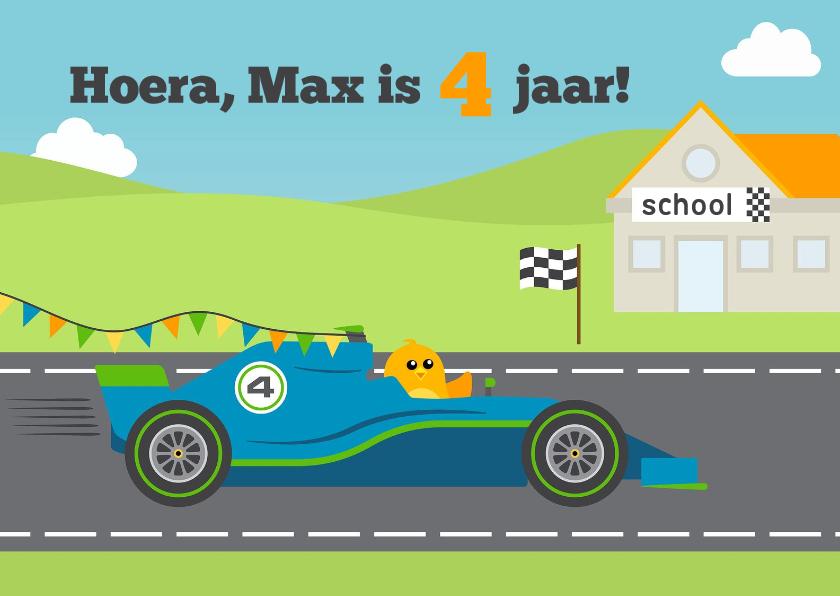 Verjaardagskaarten - Felicitatiekaart  4e verjaardag met vogel in Formule 1 auto