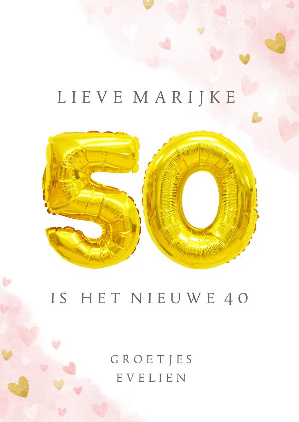Verjaardagskaarten - Felicitatiekaart 50ste verjaardag met gouden balloncijfers