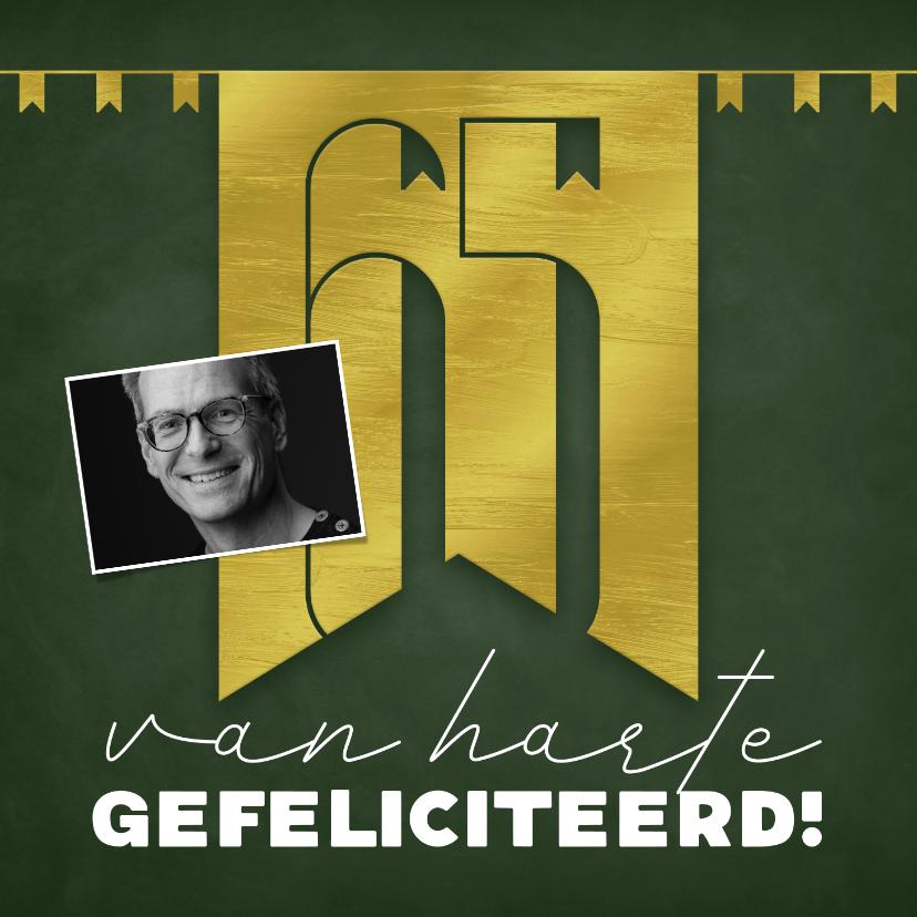 Verjaardagskaarten - Felicitatiekaart 65 jaar gouden letters en slingers groen