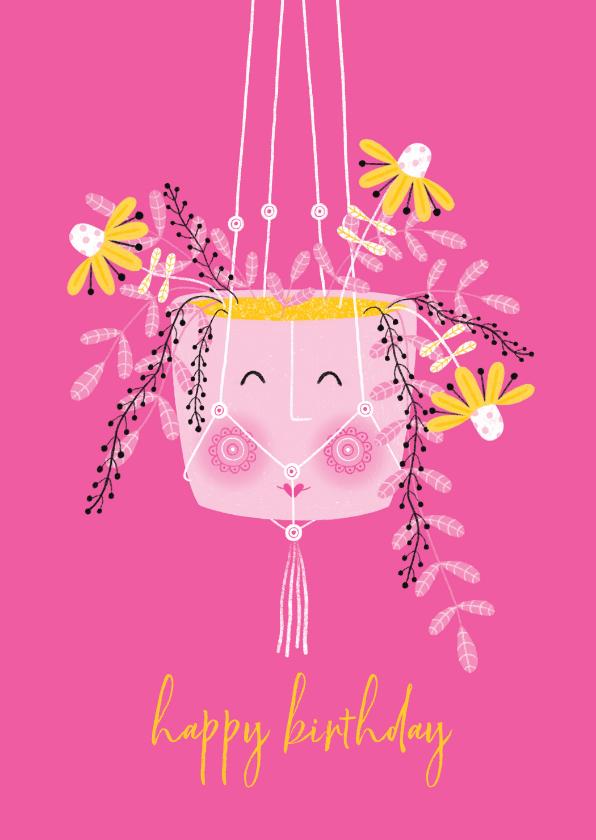 Verjaardagskaarten - Felicitatiekaart happy hangplant bloemen roze