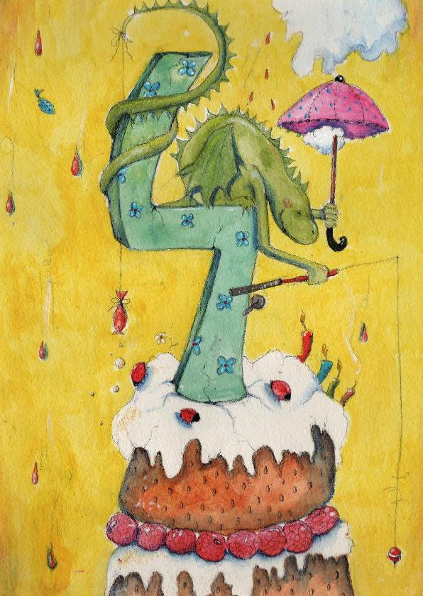 Verjaardagskaarten - Felicitatiekaart Hoera 4 jaar!
