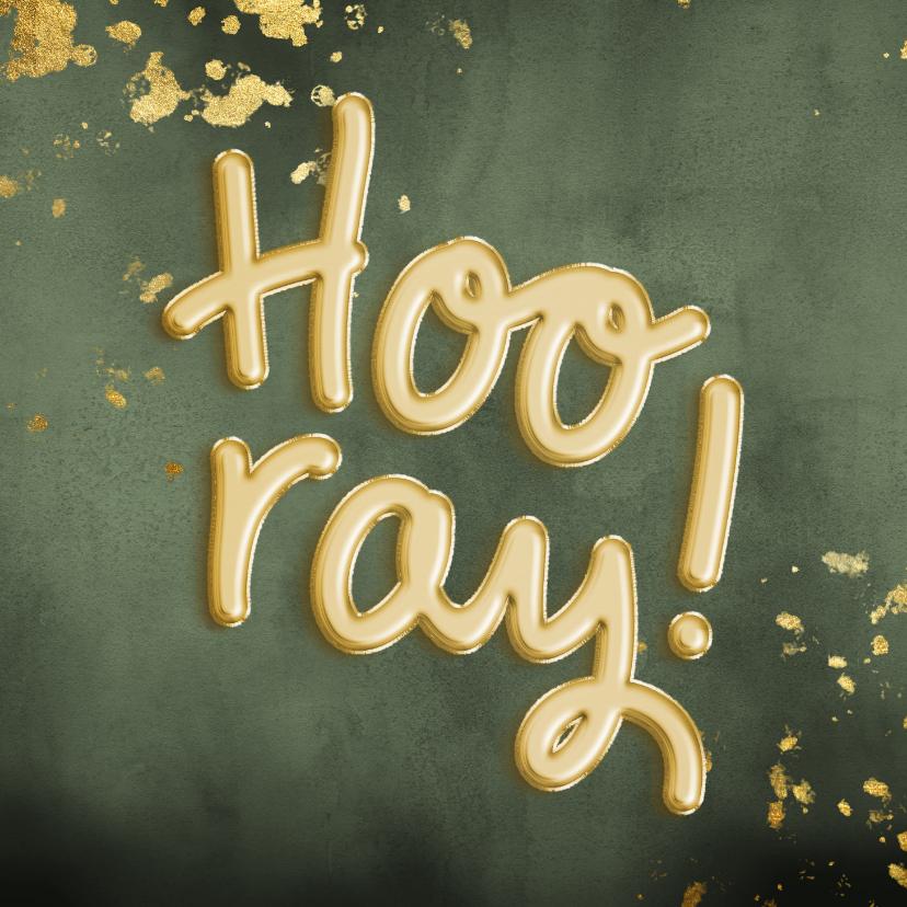 Verjaardagskaarten - Felicitatiekaart 'Hooray!' ballonnen met groene waterverf