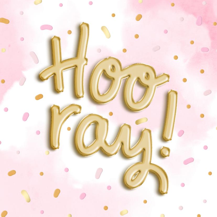 Verjaardagskaarten - Felicitatiekaart 'Hooray!' ballonnen met waterverf