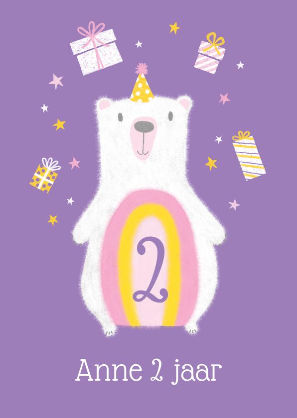 Verjaardagskaarten - Felicitatiekaart ijsbeer kadootjes verjaardag