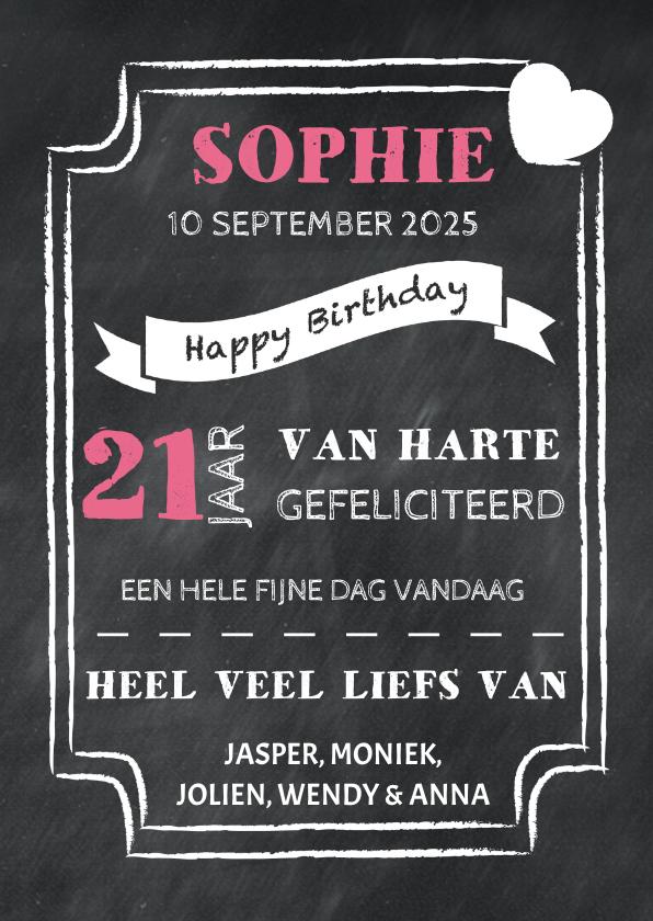 Verjaardagskaarten - Felicitatiekaart krijtbord - DH