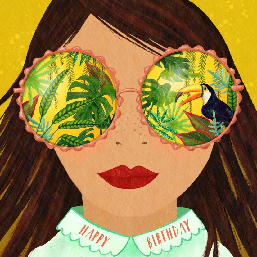 Verjaardagskaarten - Felicitatiekaart meisje met tropische zonnebril
