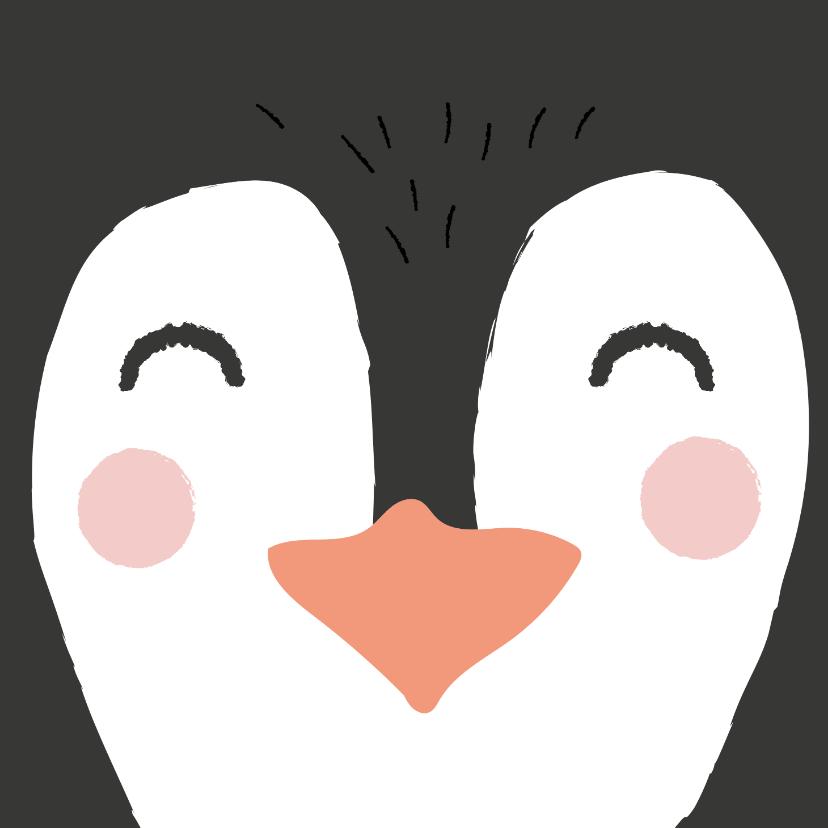 Verjaardagskaarten - Felicitatiekaart met getekende pinguïn.