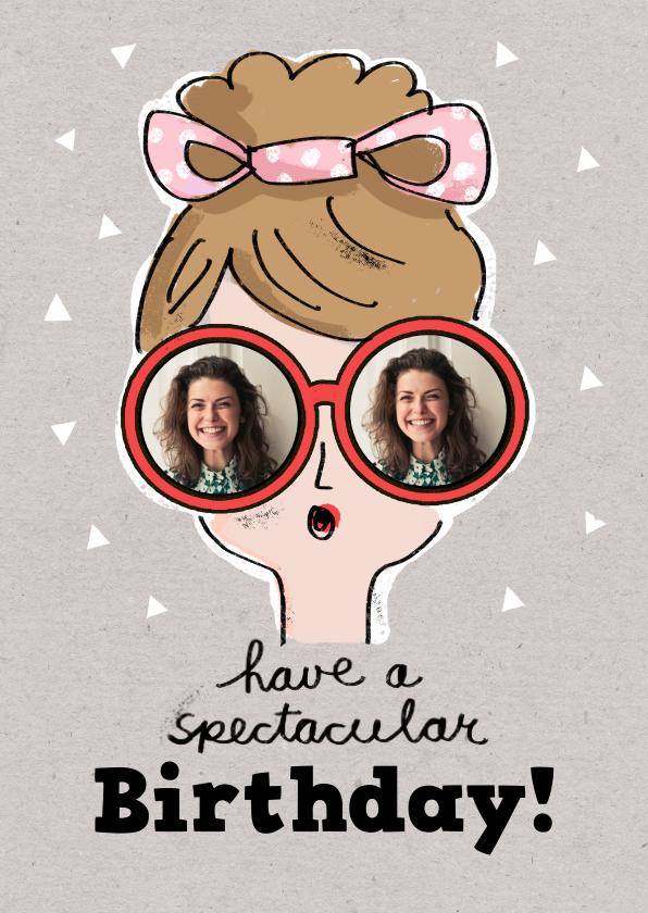 Verjaardagskaarten - Felicitatiekaart met meisje met rode bril met foto's