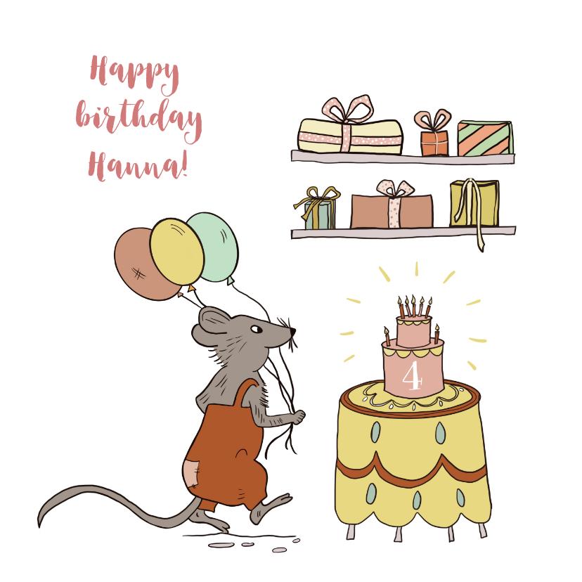 Verjaardagskaarten - Felicitatiekaart muis met taart, ballonnen en kadootjes