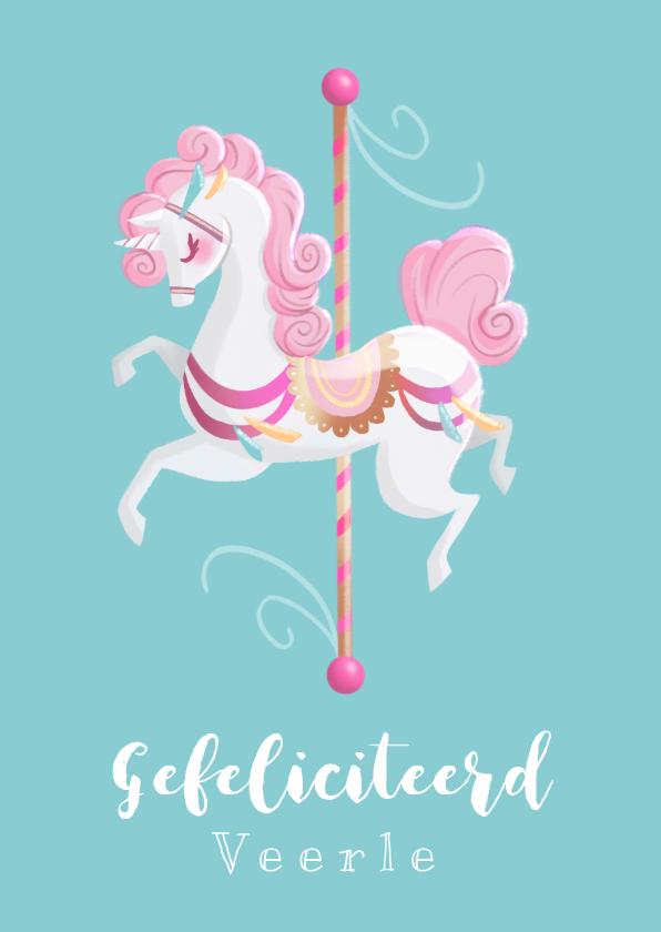 Verjaardagskaarten - Felicitatiekaart Pastel Carrousel Eenhoorn