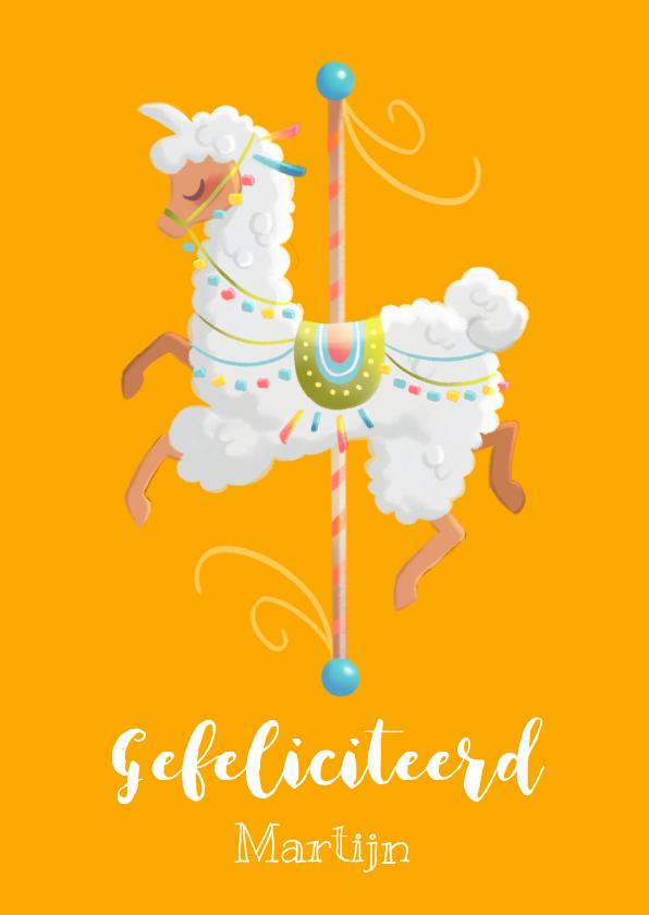 Verjaardagskaarten - Felicitatiekaart pastel carrousel lama