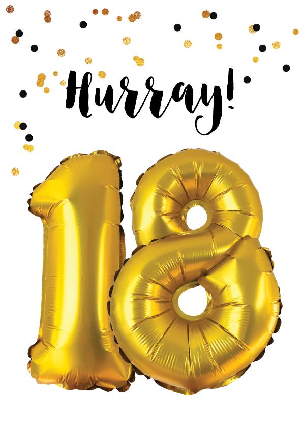 Verjaardagskaarten - Felicitatiekaart verjaardag 18 jaar goud ballonnen