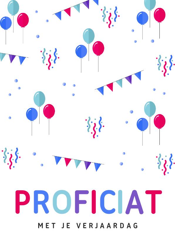 Verjaardagskaarten - Felicitatiekaart verjaardag ballonnen, slingers en confetti