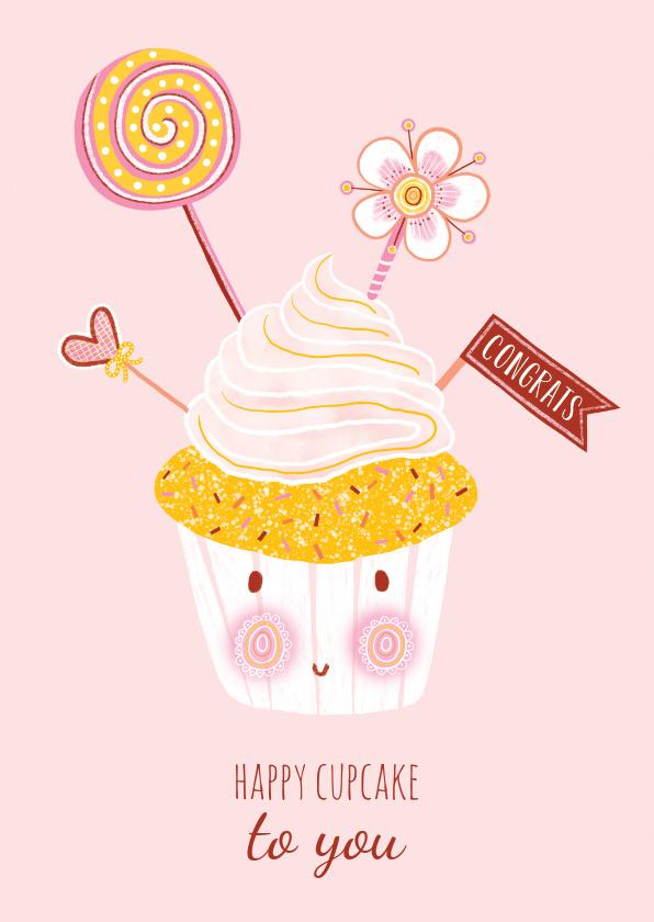 Verjaardagskaarten - Felicitatiekaart verjaardag cupcake pastel
