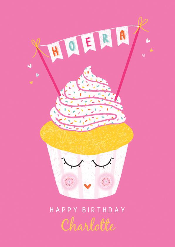 Verjaardagskaarten - Felicitatiekaart verjaardag cupcake roze