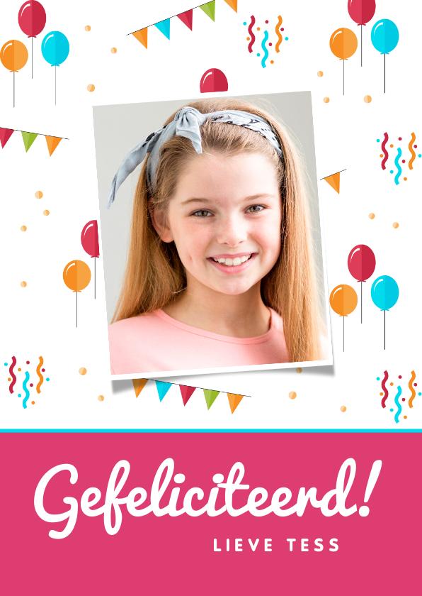 Verjaardagskaarten - Felicitatiekaart verjaardag feestelijk kind ballonnen