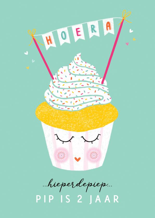 Verjaardagskaarten - Felicitatiekaart verjaardag happy cupcake mint